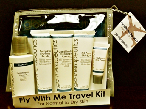 Photo of Fly With Me Travel Kit from glo therapeutics, this set helps you keep your skin looking great on your travels.